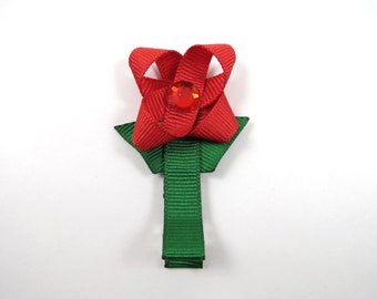 Red Flower Hair Clips - Flower Ribbon Sculpture - Red and Green Flower Bow - Flower Hair Bow