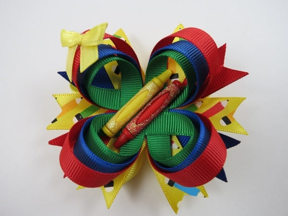 School Hair Bow - Blue Yellow Red Crayon Hair Clip - Red Green Blue Yellow Hair Bow