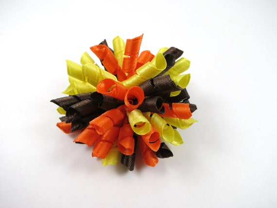 Korker Hair Bow - Brown Yellow Orange Hair Bow - Brown Hair Bow - Orange Hair Bow - Yellow Hair Bow - Small Korker Hair Clip