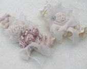 Wedding Garter and Toss/Vintage Style - Shabby Chic Wedding Garter with Pearls and Rhinestones- Katy