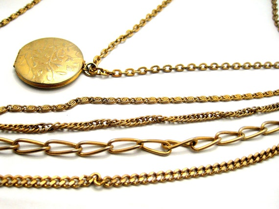 Vintage 5 Strand and Locket Necklace by Citation