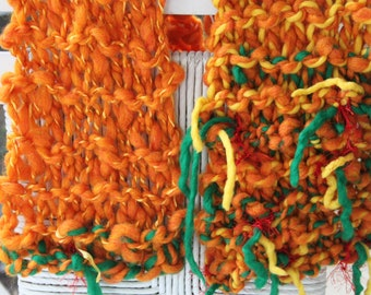 SALE Bulky Hand Knit Scarf, in orange with a smattering of green and more, made of Super Soft Handspun Hand Dyed Yarn