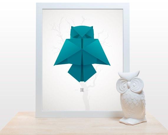 Origami owl print poster minimal modern decor wall art paper for Art minimal livre