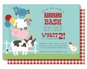 Farm Birthday Invitation, Barnyard Birthday Invitation, Farm Animal Birthday Invite, Farm Invitations, Barn Birthday, Farm Birthday Invites