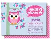 Owl Birthday Party Invitations, 2nd Birthday Invitation, Printable or Printed