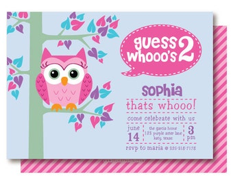 Owl Birthday Party Invitations, 2nd Birthday Invitation, Printable or Printed