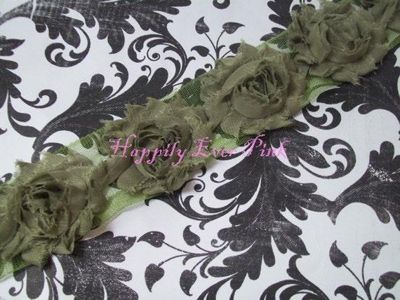 NEW, 1 yd, Sage, Shabby Flower Trim, Chiffon Rosettes, Fall,Halloween, Seasonal, Headband Flower