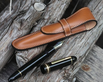 Vegetable Dyed Leather (1) Pen Case Sienna Brown