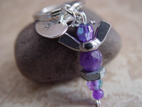 """Plum Purple Beaded Silver Wingnut """"Love"""" Heart Petite Angel Charm Keychain"""