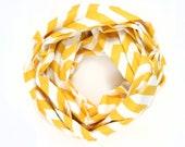 SALE - Chevron Infinity Scarf - Mustard Yellow and White