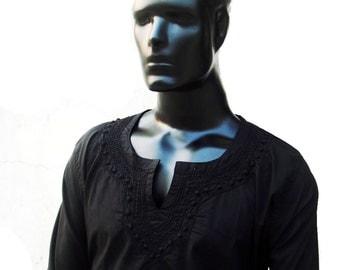 Embroidered shirt viking tunic mens kurta pajama long sleeve tshirt tribal fabric black dress mens gift ideas father's day shirt tops