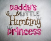 Baby Girl Daddy's Little Hunting Princess White with Pink, Silver, & Brown Bib- Perfect for the Little Hunter - Baby Girl Pink Hunting Bib
