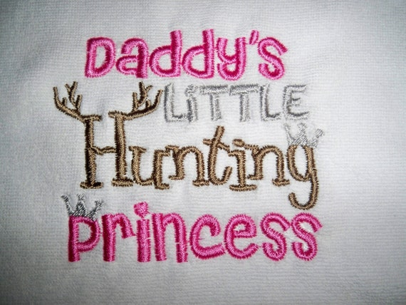 Baby Girl Daddy S Little Hunting Princess White With Pink