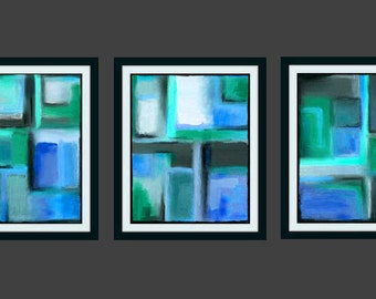Abstract Art Triptych Squares Geometric Painting Contemporary Modern 16x20 11x14 8x10 5x7 teal mint green turquoise aqua blue white black
