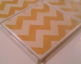 Mustard Yellow Chevron Coasters Four Piece Ceramic Tile Set