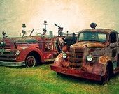 Country Photography, Vintage Firetrucks - Red, Rustic, Green, Textured - Fine Art, Rustic Decor