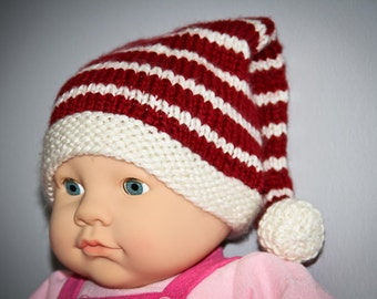 Red,White,Christmas,Photo Prop,Hand Knit,Infant,Boy,Girl,Gift,Babies,Newborn,Three Months,Holidays