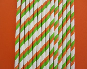 Orange and Lime Green ~ Double Striped ~ Paper Party Drinking Straws