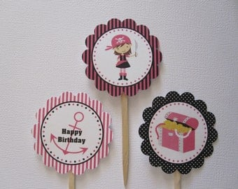 12 Girl Pirate Cupcake Toppers