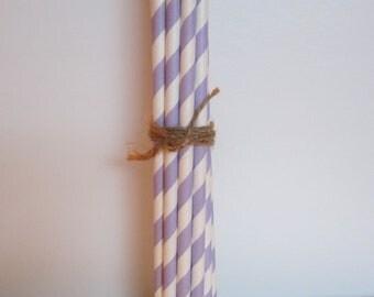 25 Lavendar Paper Drinking Straws