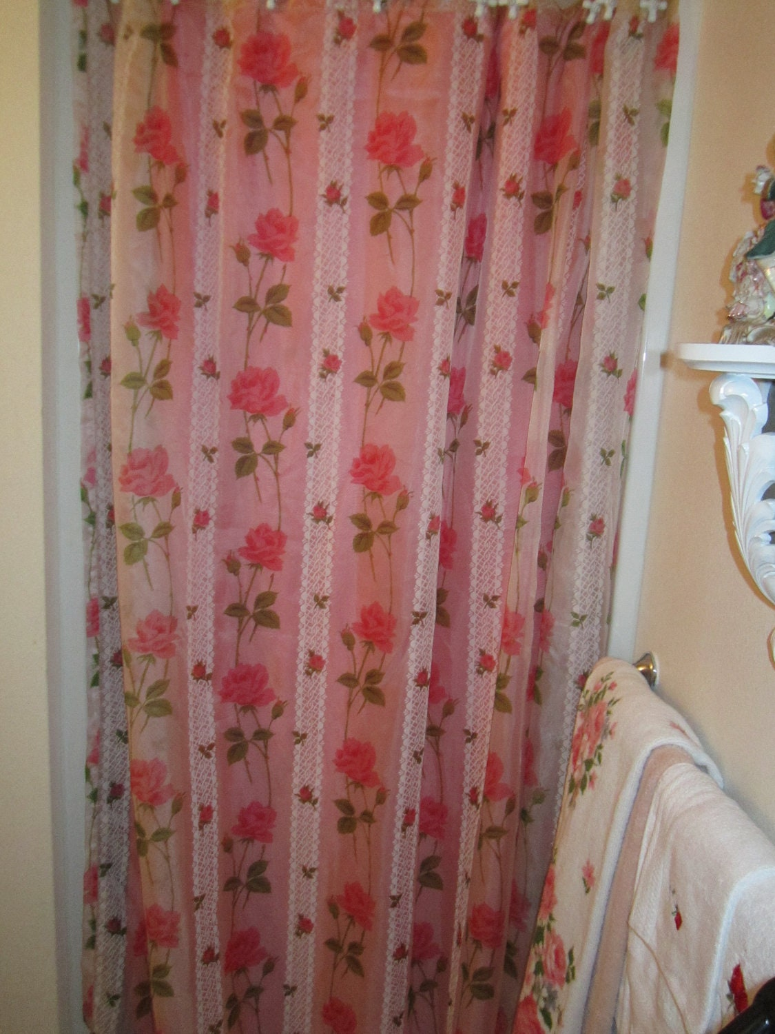 Vintage Shabby Pink Rose Bathroom Shower Curtain Linen Fabric