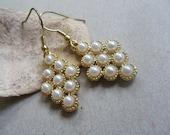Grape dangle earrings- glass pearl earrings- cottage chic pearls- fall fashion