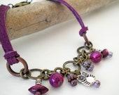 Leather Owl Charm Bracelet, Purple Leather and Chain Bracelet