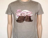 Mr moustache grey tee - pink type tee with mustache