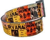 Handmade belt for men and women - leather ROCK concert POSTERS collage belt