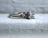 RESERVE - Beautiful Late Art Deco 14K White Gold Three Stone Diamond Engagement Ring - 0.36ct