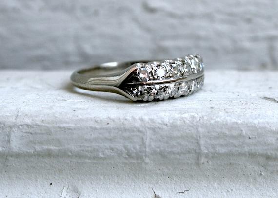Sparkly Vintage 14K White Gold Vintage Diamond Wedding Band - 0.56ct.