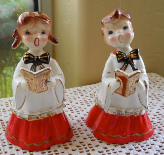 Singing Carolers Candleholders Figurines Vintage By: Vintage Ceramic Christmas Carolers Choir Boy And Girl
