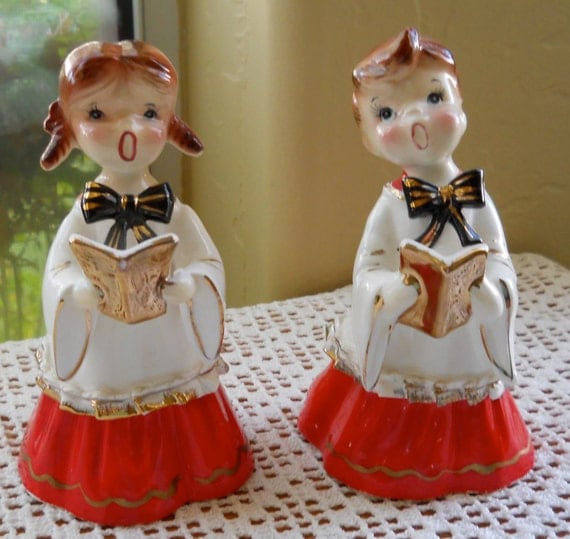 Victorian Christmas Carolers Figurines: Vintage Ceramic Christmas Carolers Choir Boy And Girl