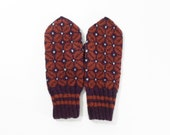 Hand Knitted Mittens - Brown, Size Large