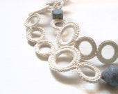 White necklace silk-linen crochet with dusk blue ceramic beads