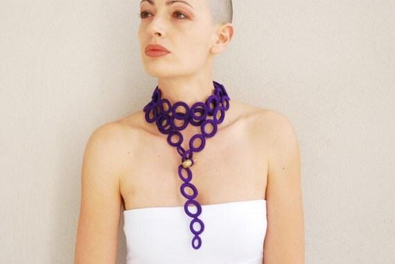 Purple scarf  cashmere crochet  fall fashion handmade by Aliquid