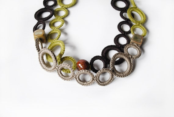 Statement necklace - Cotton and ceramics beads - Urban chic - Statement jewelry - Unique Gift for her - Valentines day