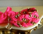 Hot Pink and Bronze Chain Double Wrap Friendship Bracelet