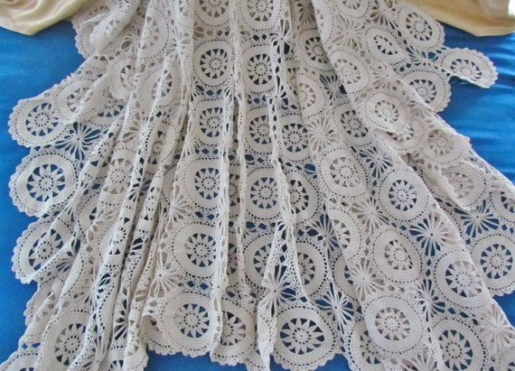 """Vintage crocheted tablecloth - ecru lace, 1930's, 60"""" x 79"""""""