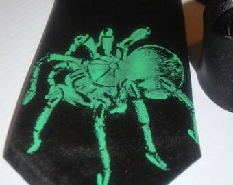 Scary Tarantula silk screen tie. Microfiber screen spider printed necktie.