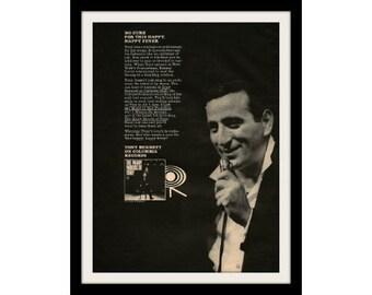 "1964 TONY BENNETT Jazz Music Ad ""Many Moods"" Vintage Advertisement Print"