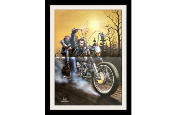 "DAVID MANN Harley Motorcycle Art Print, ""Turkey Run"" Vintage Wall Decor"