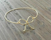 Darling bow bangle. Bridesmaid bracelet.  14k gold.
