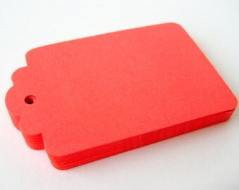 50 BRIGHT CORAL Hang Tag, Gift Tag, Price Tag Die cuts punches cardstock 2.25X1.5 inch -Scrapbook, cards