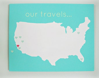 United States (Our Travels) DIY Customize Map -16X20 Canvas Acrylic Painting, Wall Art, Decor