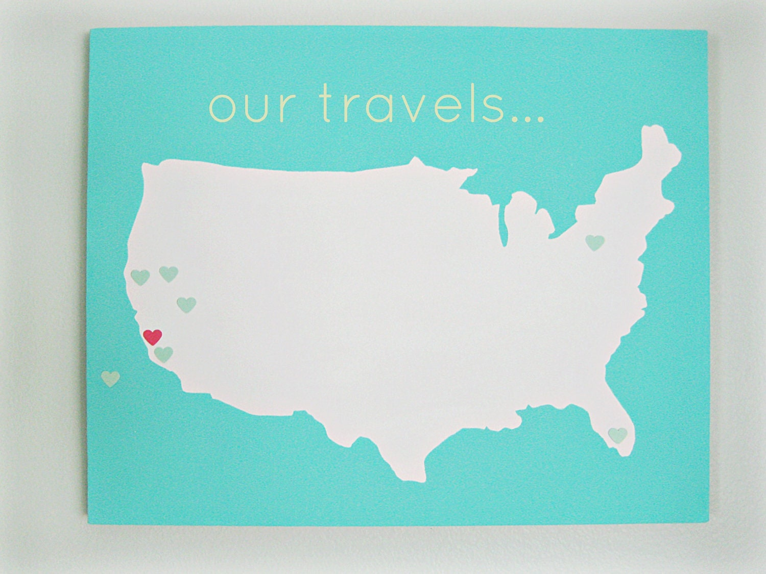 United States Our Travels Diy Customize Map 16x20 Canvas