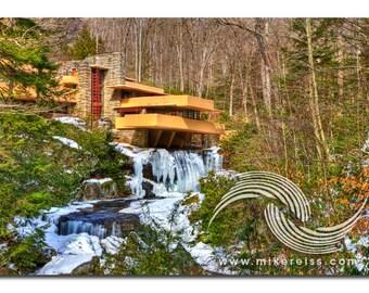 Fallingwater, laurel highlands, southwestern pennsylvania, frank lloyd wright, architecture, masterpiece, unique, winter, cold, ice, wow