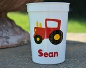 5 personalized red and yellow tractor party favor cups