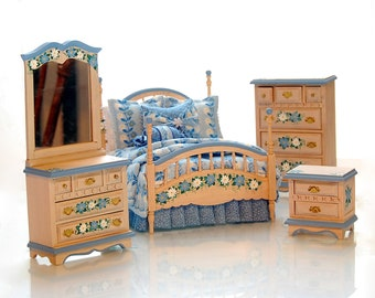 DAY-Z DREAMING Hand-Painted Miniature Dollhouse Bedroom Set Custom Dressed Blue Daisy Whitewash