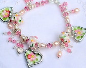 Broken China Bracelet, China Heart Charms, Handmade Lampwork Beads, Pink Apple Blossoms, Sterling Silver